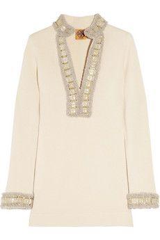 b18017a96f Tory Burch - Miranda embellished wool-blend tunic