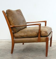 Arne Norell; Teak and Leather Armchair, 1960s.