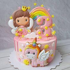 Baby Girl Birthday Cake, Fairy Birthday Cake, Beautiful Birthday Cakes, Owl Cakes, Cupcake Cakes, Fruit Cakes, Cookie Cake Designs, Fairy Cakes, Cookies For Kids