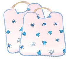2 Baberos grandes, con GOMA, IMPERMEABLE, ideal GUARDERIAS color blanco/azul celeste: Amazon.es: Bebé