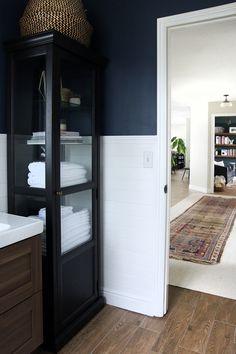 FLOOR -   Ikea Vanity and Linen cabinet in Chris Loves Julia's bathroom