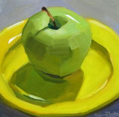 """Daily Paintworks - """"Green Apple on Yellow Plate"""" - Original Fine Art for Sale - © Robin Rosenthal Still Life Drawing, Painting Still Life, Flowers Wallpaper, Poster Photo, Art Watercolor, Still Life Fruit, Fruit Painting, Painting Abstract, Palette Knife Painting"""