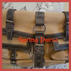 Tan - Brown Cloth & Leather purse This is a rectangular purse with several pockets. Very pretty to go with your spring outfits. Please ask any questions. Thhanks girls. Bags Shoulder Bags