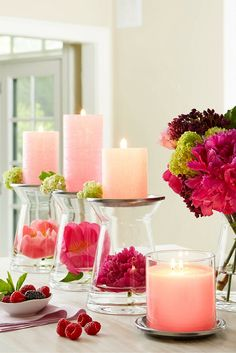 Freshen your space with two home décor favorites. First, fill your Clearly Creative GloLite Jar Candle Holder with florals and greens. Top with GloLite by PartyLite pillar candles for a top-to-bottom shimmer that fills your space with an inviting light and makes every celebration even more special.