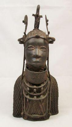 Antique Bronze African Ceremonial YORUBA Benin Figure SCULPTURE of KING