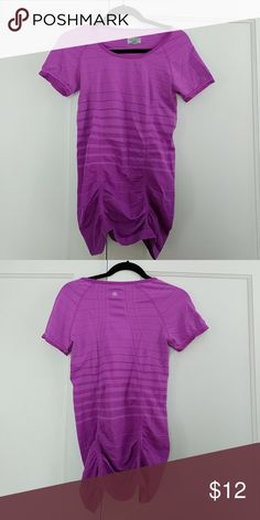 Athleta fastest track varigated tshirt EUC Athleta fastest track varigated tshirt . Worn once. Gathered sides, slim fit. Athleta Tops Tees - Short Sleeve