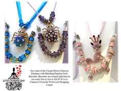 Beautiful Betsey Johnson Blue or Purple Spider Pendants or Pink Fox with a crown with matching European Charm Bracelets available at Love Charms USA. Call 910-808-WISH for custom orders and information. www.facebook.com/lovecharmsusa
