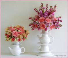 Mother's Day Flowers-Victoria BC by Artistry in Bloom Beautiful Flower Arrangements, Floral Arrangements, Beautiful Flowers, Alice In Wonderland Flowers, Alice In Wonderland Party, Teapot Centerpiece, Mothers Day Flowers, Mad Hatter Tea, Flower Decorations