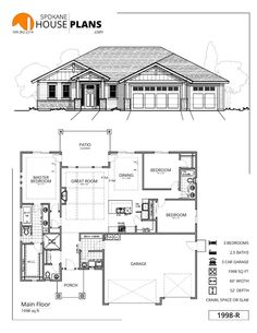 Love Drawing and Design? Finding A Career In Architecture - Drawing On Demand Family House Plans, Ranch House Plans, New House Plans, Dream House Plans, Small House Plans, House Floor Plans, Tandem Garage, House Blueprints, Sims House
