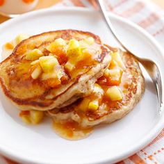 Heat up the griddle and get ready to enjoy a decadent pancake breakfast that's loaded with nutrition. A serving is two pear-ginger pancakes -- a filling portion for less than 250 calories and 40 grams of carb.