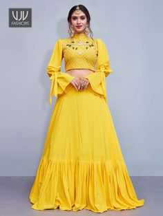 Get Beautiful Yellow Color Crepe Silk Designer Lehenga Chol latest designer party wear lehenga, wedding wear lehenga choli for women at VJV Fashions. Indian Gowns Dresses, Indian Fashion Dresses, Indian Designer Outfits, Dress Indian Style, Designer Dresses, Party Wear Lehenga, Red Lehenga, Party Wear Dresses, Yellow Lehenga