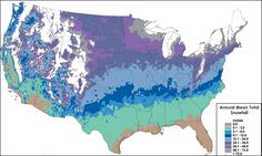 Average snowfalls per year across the U.S. - chart by National Weather Service.
