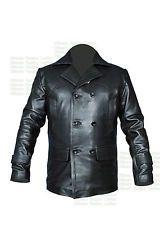 Nueva clásico alemán Mariner la Segunda Guerra Mundial Para Hombre Negro Pea Coat Real Chaqueta De Cuero