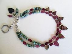 Garnet Leaf with Natural Turquoise 925 Silver Artisan Double Strand Bracelet Designed by Blue Tortue