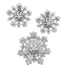 VAN CLEEF & ARPELS Diamond Snow Flakes Pin and Earrings | From a unique collection of vintage brooches at http://www.1stdibs.com/jewelry/brooches/brooches/
