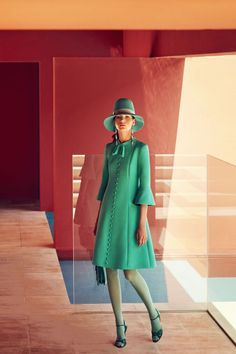 BEAUTY BAZAAR Spritz on Jo Malone London Basil & Neroli Cologne for a ladylike floral scent ($130). Gucci dress, $2,800, hat, $530,earrings, $1,020, bag, $2,400, tights, $70, and shoes, $795, gucci.com;Delfina Delettrezrings, $911-$1,117,farfetch.com.
