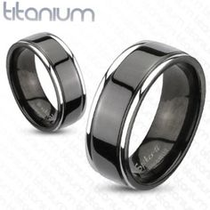 """Featuring: * Center Grooved Band * 2-Tone Black Ion Plated * Wedding Band * Solid Titanium Grade 23 (Medical Grade) * Men's Ring * Width: 8mm=0.31"""""""