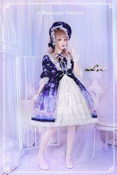 Moonlight Forest -Fantasy Castle- Open Front Lolita OP Dress