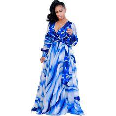 V Neck Chiffon Printing Women& Maxi Dresstrue to US plus size dresses! Cheap Maxi Dresses, Cute Dresses, Dresses With Sleeves, Party Dresses, Peplum Dresses, Ladies Dresses, Special Dresses, Dressy Dresses, Beach Dresses