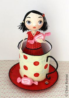 Bridesmaid in his cup Cherry OOAK doll by chloeremiat on Etsy