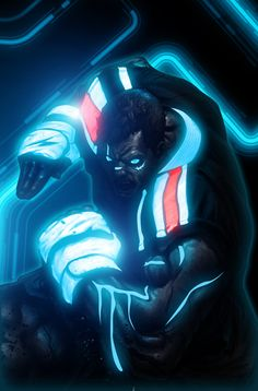 Melbourne-based artist, Bosslogic gives us a taste of Street Fighter with a little Tron flavor. Out of all the Tron-inspired art I've seen in the last year