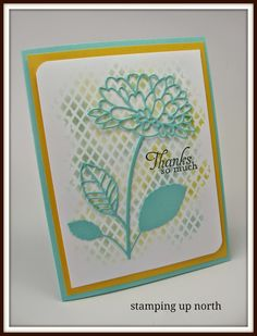 handmade card from stamping up north: Addicted to CAS challenge ... large die cut flower with stem and leaves ... stained glass line let background peek through ... stenciled grid ... luv the light an bright look ...
