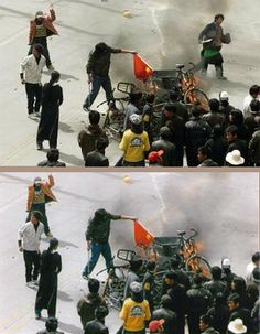 "Fake - The man in the top image was deleted, according to a story in the Epoch Times, it's because that ""Tibetan rioter"" was not Tibetan at all, but rather a Chinese policeman dressed up as an ethnic Tibetan, sent out to wave a machete and generally look menacing but was recognized as a policeman...."