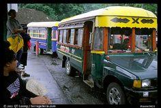 Colorful aiga busses, Pago Pago. Pago Pago, Tutuila, American Samoa (experienced riding these in 2005 ~Dahni)