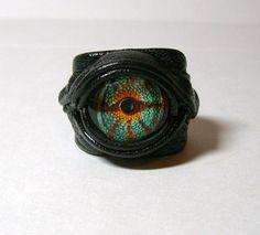 Dragon eye adjustable black leather ring. Snake eye ring. halloween ring. Horror leather ring. Leather Ring, Leather Jewelry, Black Leather, Snake Eyes, Dragon Eye, Evil Eye Jewelry, Creepy Cute, Cute Rings, Black Rings