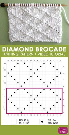 Knitting Chart Diamond Brocade Knit Stitch Pattern by Studio Knit with Free Pattern and Video Tutorial Super helpful! Knitting Chart Diamond Brocade Knit Stitch Pattern by Studio Knit with Free Pattern and Video Tutorial I think the elegant design of thi Knitting Stiches, Knitting Charts, Easy Knitting, Knitting For Beginners, Loom Knitting, Knitting Patterns Free, Crochet Stitches, Stitch Patterns, Crochet Patterns