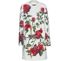 Dolce & Gabbana Embellished Floral Jacquard Coat (€2.700) ❤ liked on Polyvore featuring outerwear, coats, jackets, dresses, green, dolce gabbana coat, white coat, floral print coat, jacquard coat and floral coat