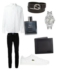 """""""Untitled #83"""" by manupedraza ❤ liked on Polyvore featuring Topman, Lacoste, Rolex, Gucci, Chanel, FAY, men's fashion, menswear and slipons"""