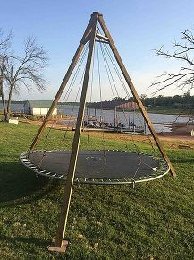 trampoline repurpose backyard lounge, diy, outdoor living, woodworking projects