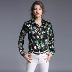 f77994d08bb9 2018 Camellia Floral Printing Fashion Ladies Shirts 2017 Spring New  Straight Lapel Long Sleeved Female Elegant All Match Blouse Backing From  Sinofashion