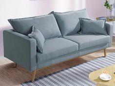 Canapé d\'angle en velours bleu pastel CHESTERFIELD | Pastel ...
