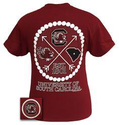 South Carolina Gamecocks Prep Arrow Pearls Girlie Bright T Shirt
