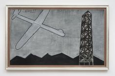 David Lynch. Airplane and Tower, 2013. Oil and mixed media on canvas. 77 x 125 inches