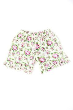 A beautiful rose pattern with a classic style, the Rose Collection is exclusive to Adorable Essentials. 100% cotton Matches Light Pink, Bright Pink, and Green Apple. Imported Relaxed fit / Stretchy Material Durable Vintage floral pattern throughout.  Please check measurements before ordering. All sales are final. No returns or exchanges. Free shipping on ALL U.S.  https://adorableessentials.com/collections/shorts/products/rose-ruffled-shorts