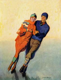 Skating Couple by McClelland Barclay Painting Print on Canvas