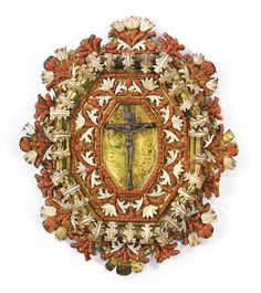 A Sicilian coral, mother of pearl and silver-mountedgilt copper devotional plaque, late 17th century, Trapani. - Sotheby's