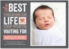 Worth the Wait - Adoption Photo Birth Announcements - Magnolia Press - Sorbet - Pink : Front