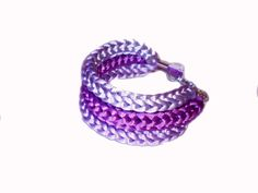 Knitted Bracelet Statement Bracelet Purple by twolittlefairies