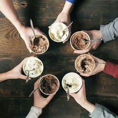 Eat together ice-cream