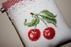 CHERRY Cross-stitch and Felt Pincushion/Ornament/Handmade Gift/Decorative piece