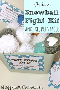 Looking for an awesome DIY project for family fun? This post shows how to make an indoor snowball fight kit and includes free printable tags. An indoor snowball fight kit would be an incredibly fun DIY gift for kids, and the perfect idea for family fun night! I can't wait to make one!