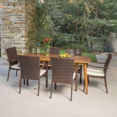 Talbot Outdoor 7 Piece Wood Rectangle Dining Set With Cushions By Christopher  Knight Home (Dark Brown), Size 7 Piece Sets, Patio Furniture