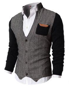 H2H Mens Herringbone Cardigan Sweater of Knitted Sleeves BLACK US 2XL/Asia 3XL (KMOSWL015)