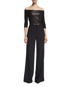 Alice + Olivia Mel Off-the-Shoulder Leather-Panel Crop Top, Black Cobi Double-Pleated Tuxedo Pants, Black Tuxedo Pants, Leather Pieces, Black Crop Tops, Lambskin Leather, Smooth Leather, Alice Olivia, Off The Shoulder, Autumn Fashion, Topshop