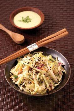 Asian Slaw with Cilantro Wasabi Mayo   vegan