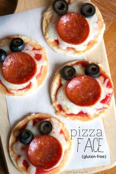 Gluten-free Pizza Faces (cut pepperoni in half to form smile)